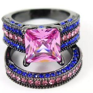 🌸 New ⛱🎉 Beautiful Sapphire Ring Set Size 8